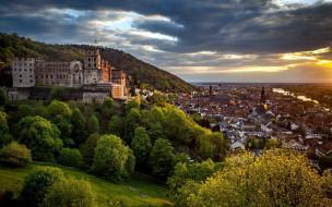 города, гейдельберг , германия, замок, панорама, тучи