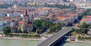 ассизского, церковь, франциска, соборы, вена, австрия, река, столицы, города, церкви, мост, дорога