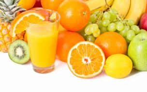 яблоки, стакан, лимон, бананы, киви, сок, виноград, апельсины