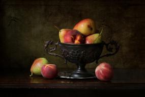 натюрморт, фрукты, персики, груши, ваза