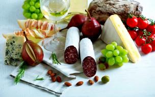 виноград, колбаса