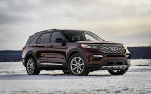 platinum, ford explorer, люкс, новый, внедорожник, снег, 2020, американские автомобили, зима
