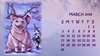 снег, елка, поросенок, гирлянда, свинья