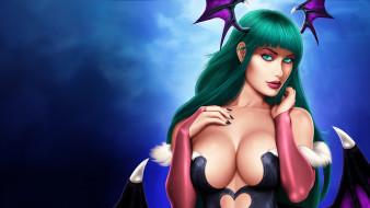 Darkstalkers обои для рабочего стола 1920x1080 darkstalkers, аниме, крылья, фон, взгляд, девушка