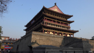 достопримечательности, города, барабанная, башня, китай, сиань