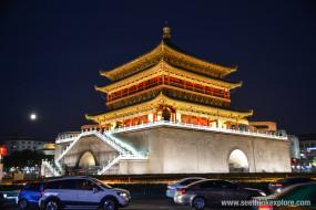 достопримечательности, города, вечер, освещение, башня, колокольная, китай, сиань