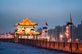 китай, городская, сиань, города, стена, достопримечательности