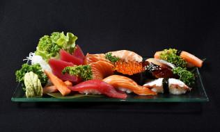 рыба, икра, суши, креветки, морепродукты