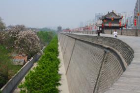 города, достопримечательности, городская, китай, сиань, стена