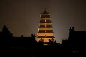 - буддийские и другие храмы, религия, культура, буддизм, города, достопримечательности, гусей, диких, пагода, пагода диких гусей, китай, сиань