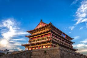 вечер, освещение, - буддийские и другие храмы, города, достопримечательности, башня, барабанная, китай, сиань