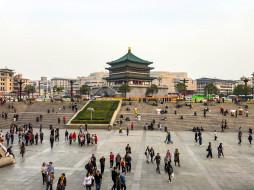 города, - буддийские и другие храмы, китай, сиань, достопримечательности, башня, колокольная
