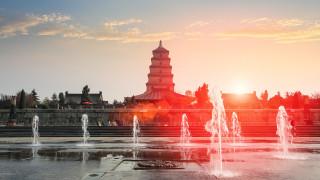 диких, пагода, религия, культура, буддизм, фонтаны, города, достопримечательности, гусей, пагода диких гусей, китай, сиань