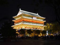 барабанная, китай, сиань, освещение, вечер, - буддийские и другие храмы, города, достопримечательности, башня