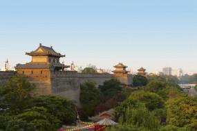 достопримечательности, города, стена, городская, китай, сиань