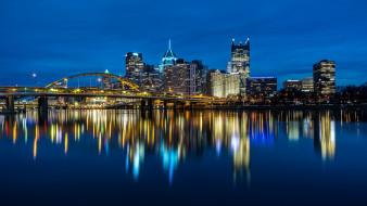 города, питтсбург , сша, питтсбург, набережная, фонари, дома, здания, река, огни, мост, ночь