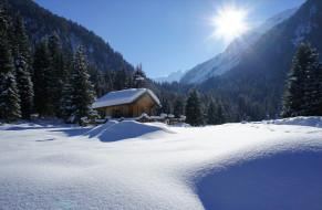 снег, пейзаж, деревья, горы, лучи, солнце
