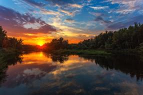 река Урал, Павел Сагайдак, река, отражение, закат, деревья, небо