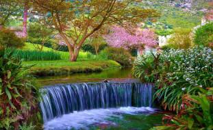 весна, водопад, парк