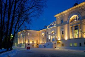 университет, Россия, фонари, Москва, снег, зима, деревья, ночь, огни