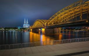 города, кельн , германия, мост