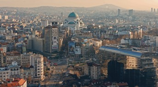 церковь, собор, улица, панорама, столицы, города, сербия, белград