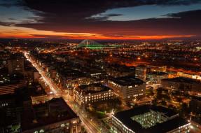 освещение, ночное, закат, вечер, улица, панорама, столицы, города, сербия, белград