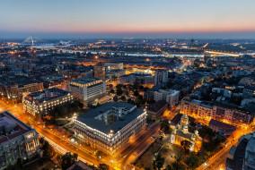 освещение, белград, сербия, города, столицы, панорама, ночное, закат, вечер, улица