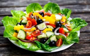 овощи, маслины, свежие, салат