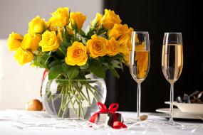 шампанское, бокалы, розы