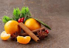 мандарины, корица, анис
