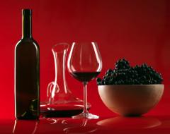 графин, виноград, вино, бутылка