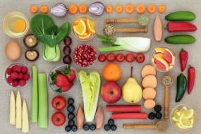 малина, лимон, грибы, яйца, кукуруза, лук, черника, клубника, яблоко, апельсин