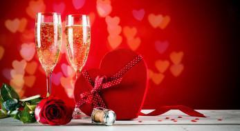 бокалы, шампанское, роза, сердце