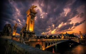 тучи, мост, вечер