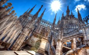 города, милан , италия, собор