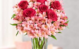 розы, альстромерия