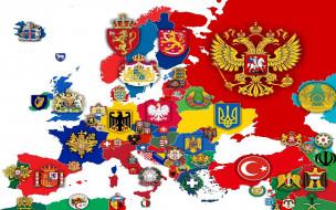 государств, на карте, гербы, Европы