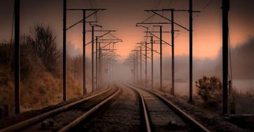 туман, железная дорога, ночь