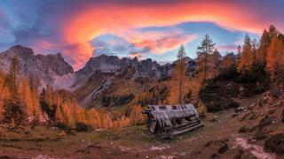 горы, природа, шалаш