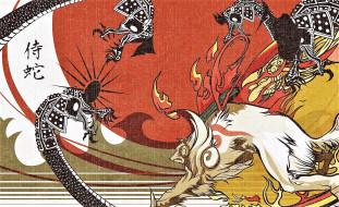 драконы, стиль, холст, лис
