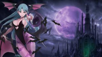 darkstalkers, аниме, взгляд, фон, крылья, девушка