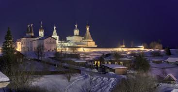 деревня, Вологодская область, дома, ночь, снег, дорога, монастырь, освещение