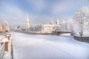 зима, церковь, город, мост, снег