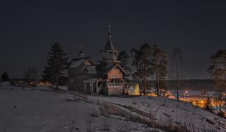 снег, зима, природа, Карелия, Сергей Гармашов, звёзды, небо, ночь, ели, сосны, деревья, церковь, деревня