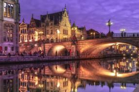 ночь, мост, огни, Бельгия, Гент