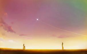 аниме, tengen toppa gurren-lagann, люди, звезда, небо