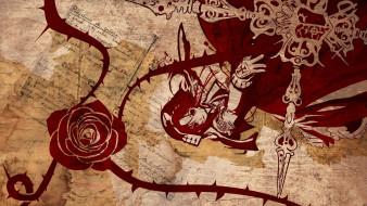 аниме, trinity blood, оружие, девушка, роза, бумаги
