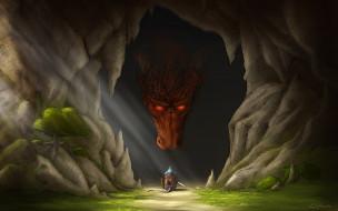 дракон, пещера, рыцарь, мышь