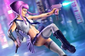 фон, пистолет, девушка, жевачка